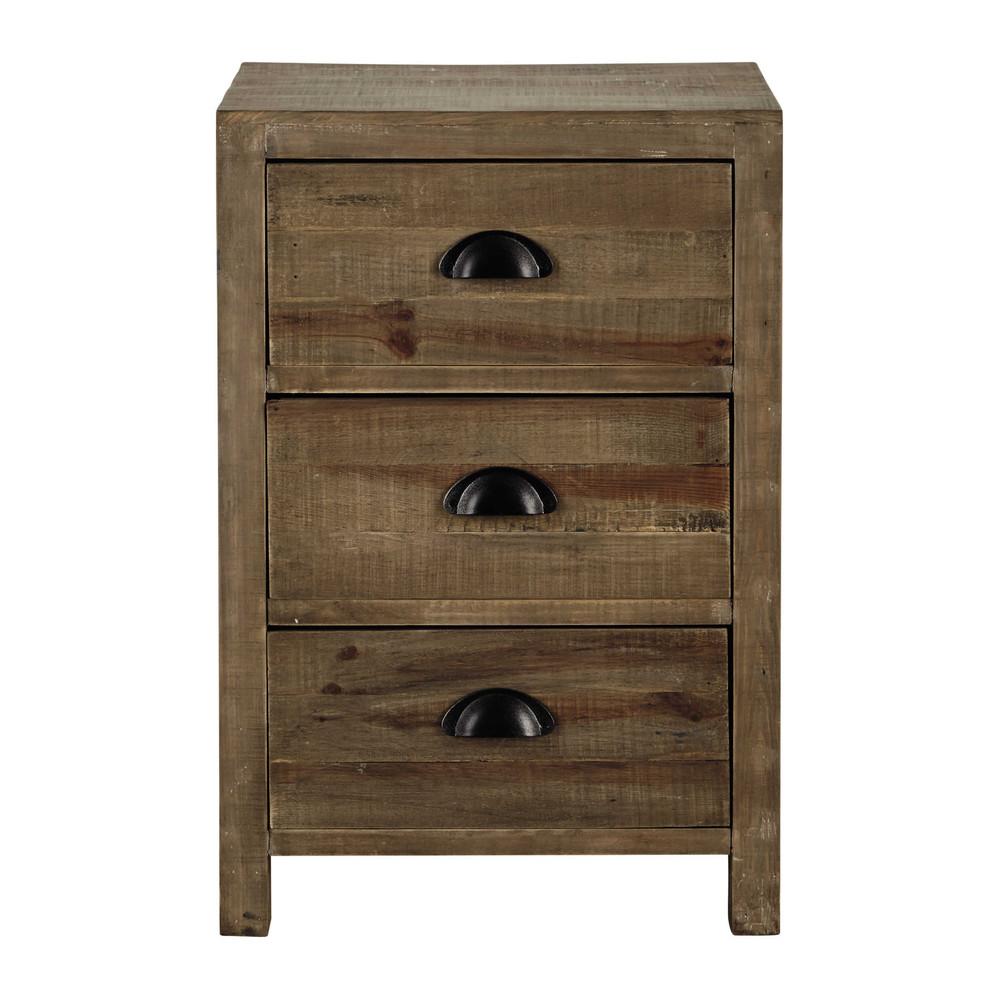Table de chevet 3 tiroirs en sapin woodpecker maisons du monde - Table chevet maison du monde ...
