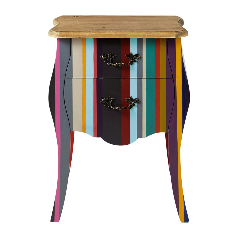 table de chevet rayures en bois de paulownia multicolore l 45 cm n on maisons du monde. Black Bedroom Furniture Sets. Home Design Ideas