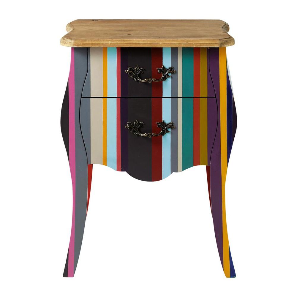 Table de chevet rayures en bois de paulownia multicolore - Table de nuit industrielle ...