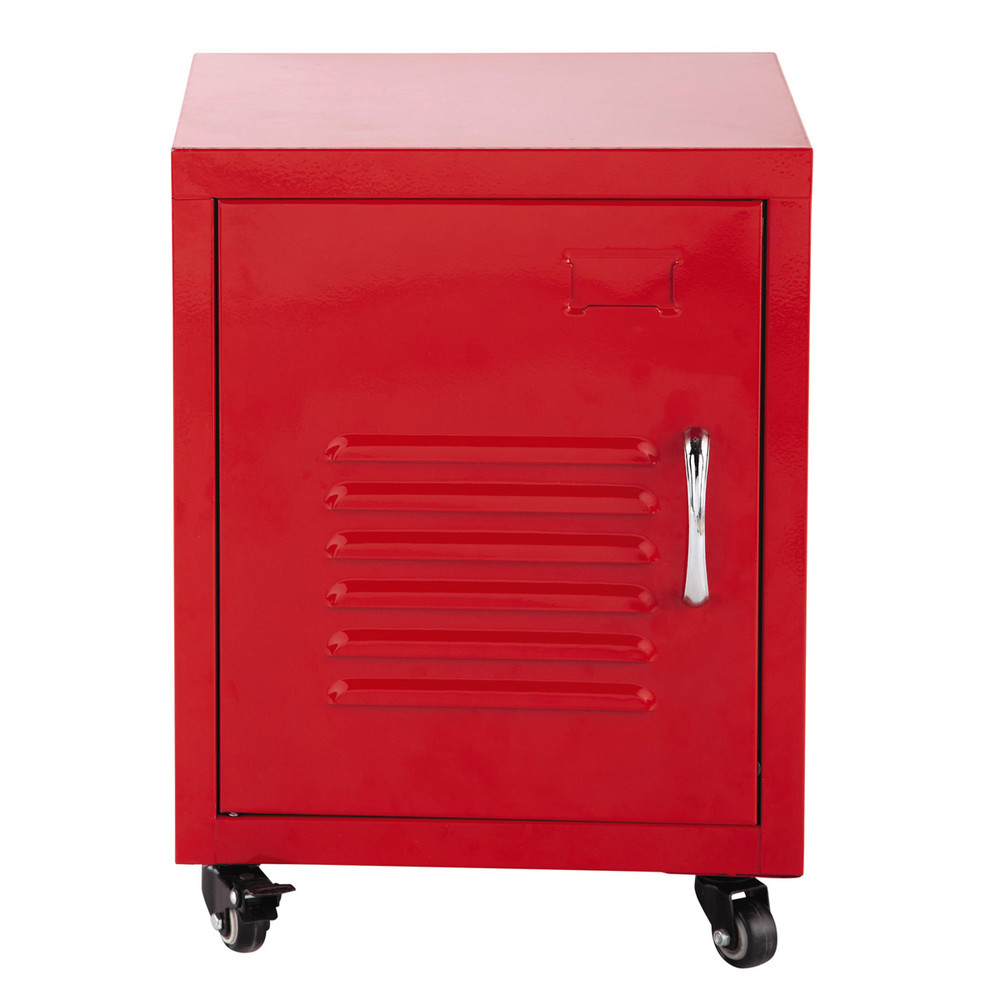 Table de chevet roulettes en m tal rouge l 37 cm loft - Table de chevet rouge ...