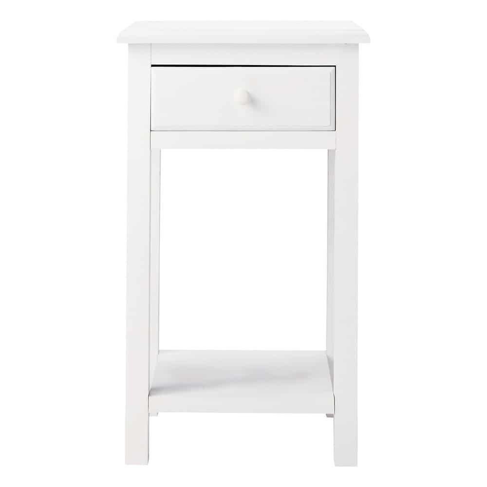 table de chevet avec tiroir en bois blanc l 35 cm pastel maisons du monde. Black Bedroom Furniture Sets. Home Design Ideas
