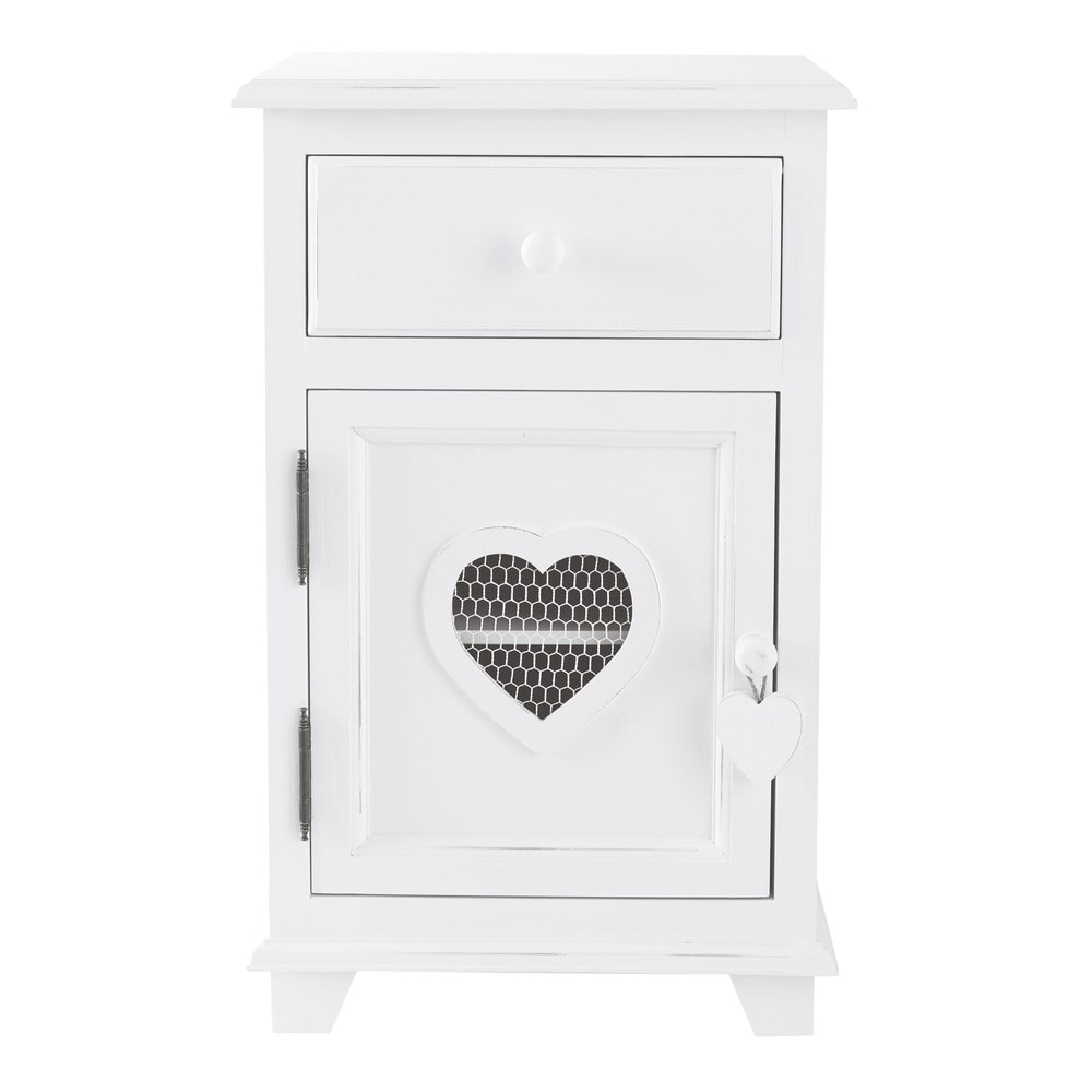 table de chevet avec tiroir en bois blanc l 40 cm valentine maisons du monde. Black Bedroom Furniture Sets. Home Design Ideas