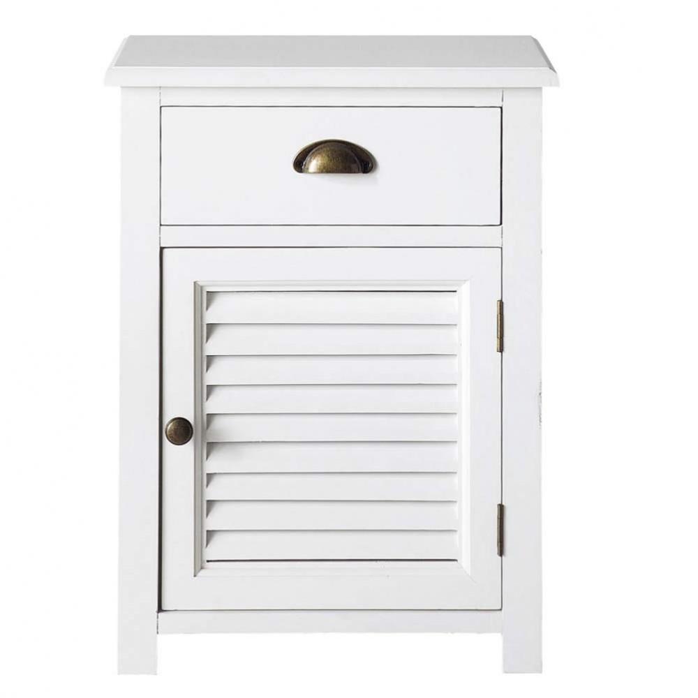 Table de chevet avec tiroir en bois blanche l 45 cm for Table de nuit maison du monde