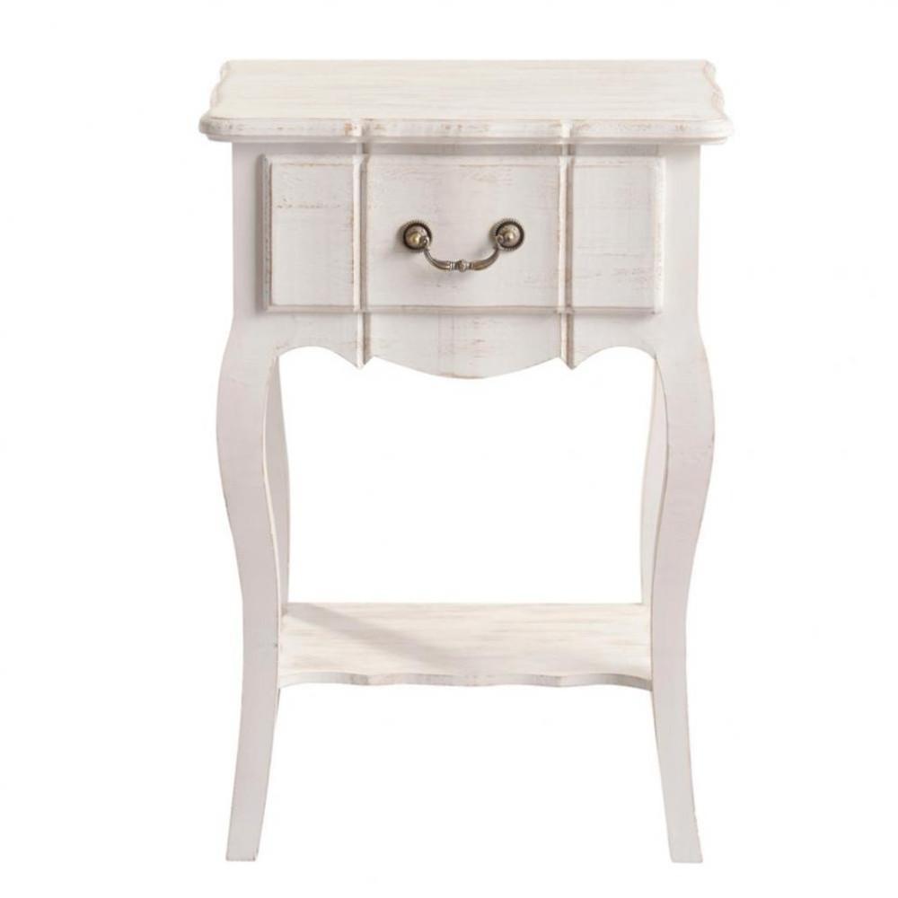 table de chevet avec tiroir en bois de paulownia blanche l. Black Bedroom Furniture Sets. Home Design Ideas