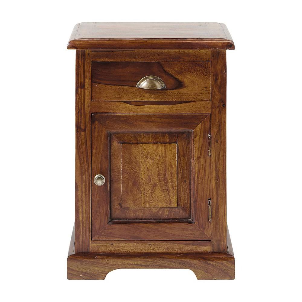 table de chevet avec tiroir en bois de sheesham massif l 42 cm luberon maisons du monde. Black Bedroom Furniture Sets. Home Design Ideas