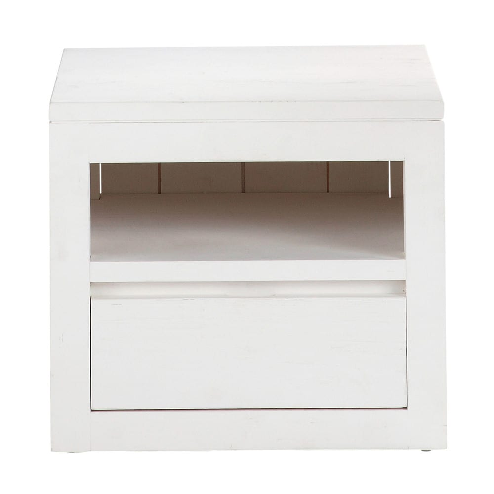 Table de chevet avec tiroir en bois massif blanche l 40 cm - Table de chevet murale contemporaine ...