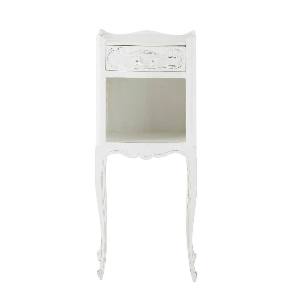 Table de chevet avec tiroir en manguier blanche l 30 cm for Table de chevet bebe