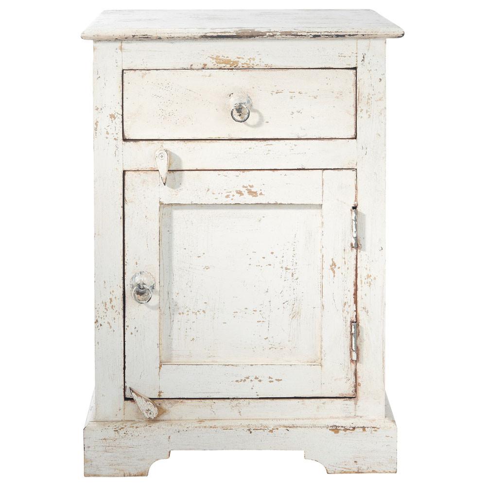 Table de chevet avec tiroir en manguier blanche l 42 cm - Table de nuit maison du monde ...