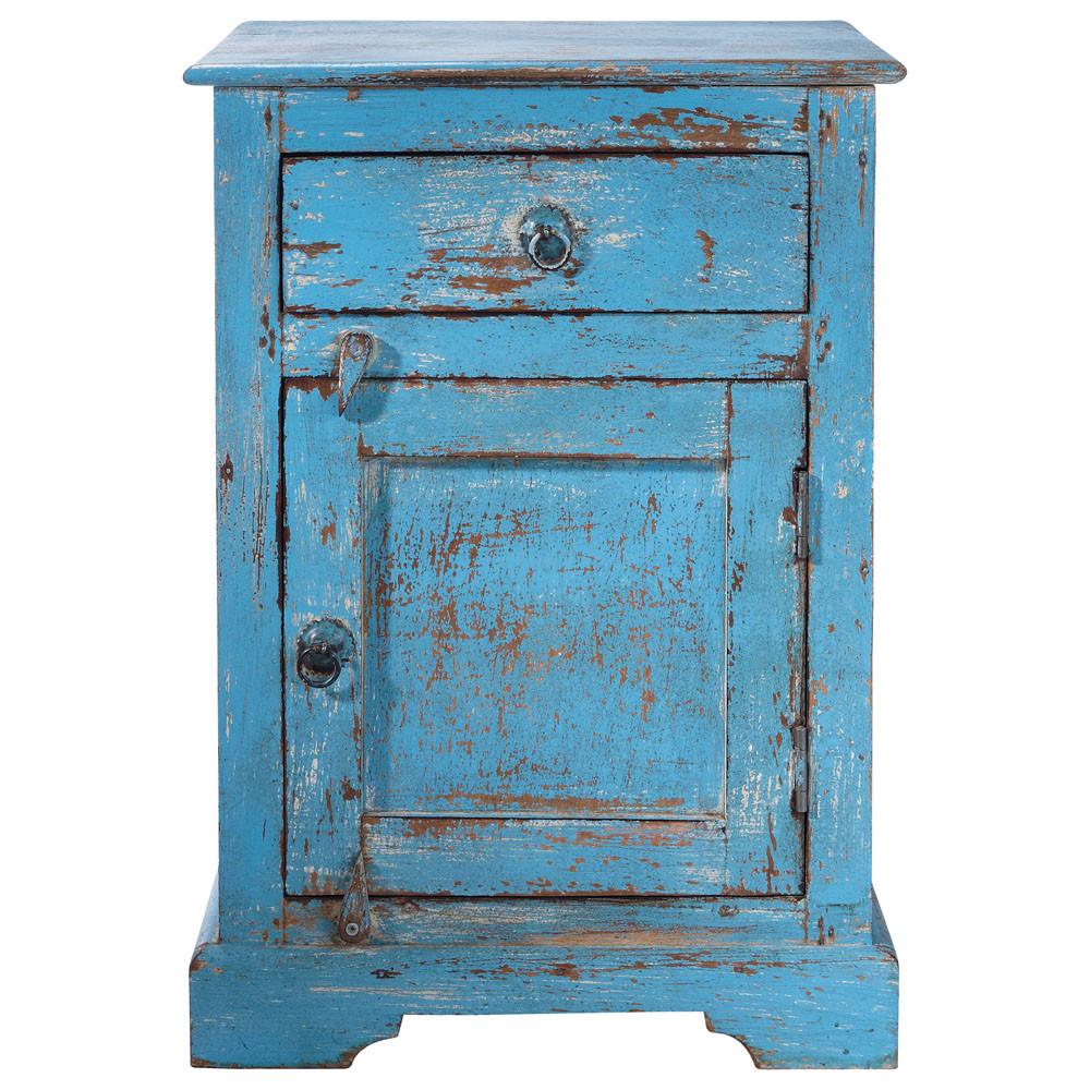 table de chevet avec tiroir en manguier bleue l 42 cm. Black Bedroom Furniture Sets. Home Design Ideas