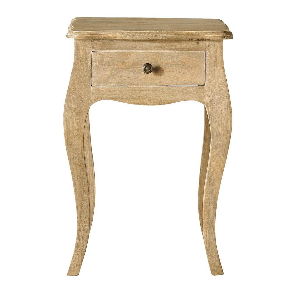 Table de chevet avec tiroir en manguier l 42 cm colette for Bois de manguier meuble