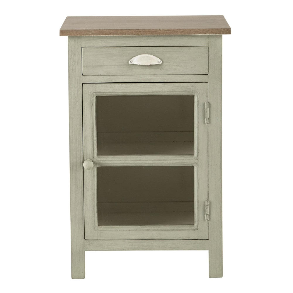 table de chevet avec tiroir en manguier vert d 39 eau blanche. Black Bedroom Furniture Sets. Home Design Ideas