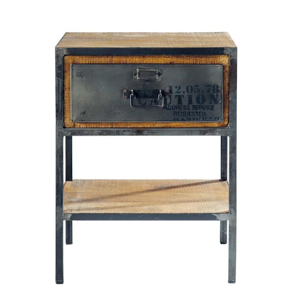 table de chevet avec tiroir en m tal noire l 45 cm manufacture maisons du monde. Black Bedroom Furniture Sets. Home Design Ideas