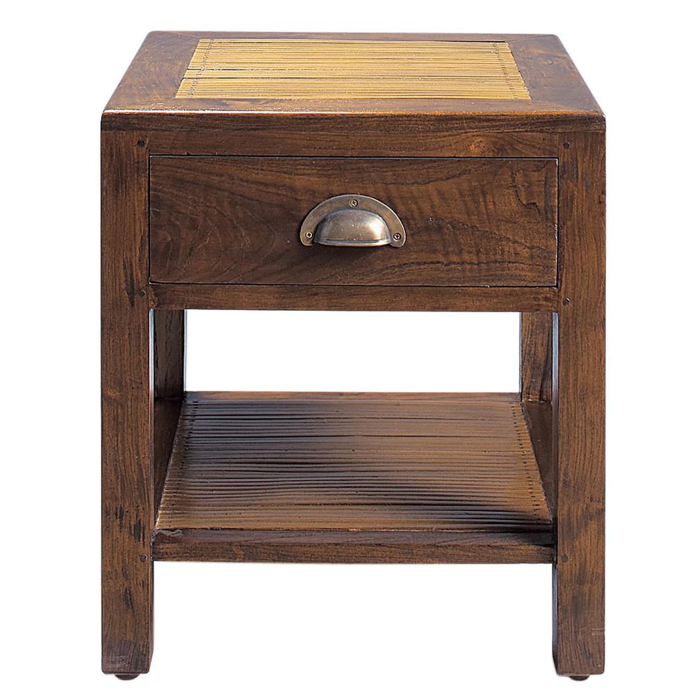 Table de chevet avec tiroir en teck massif l 40 cm bamboo for Table de chevet teck