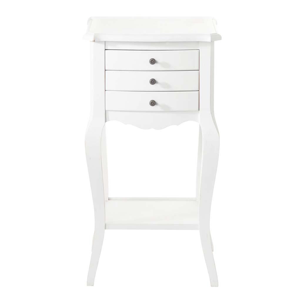 table de chevet avec tiroirs en bois blanche l 37 cm s raphine maisons du monde. Black Bedroom Furniture Sets. Home Design Ideas