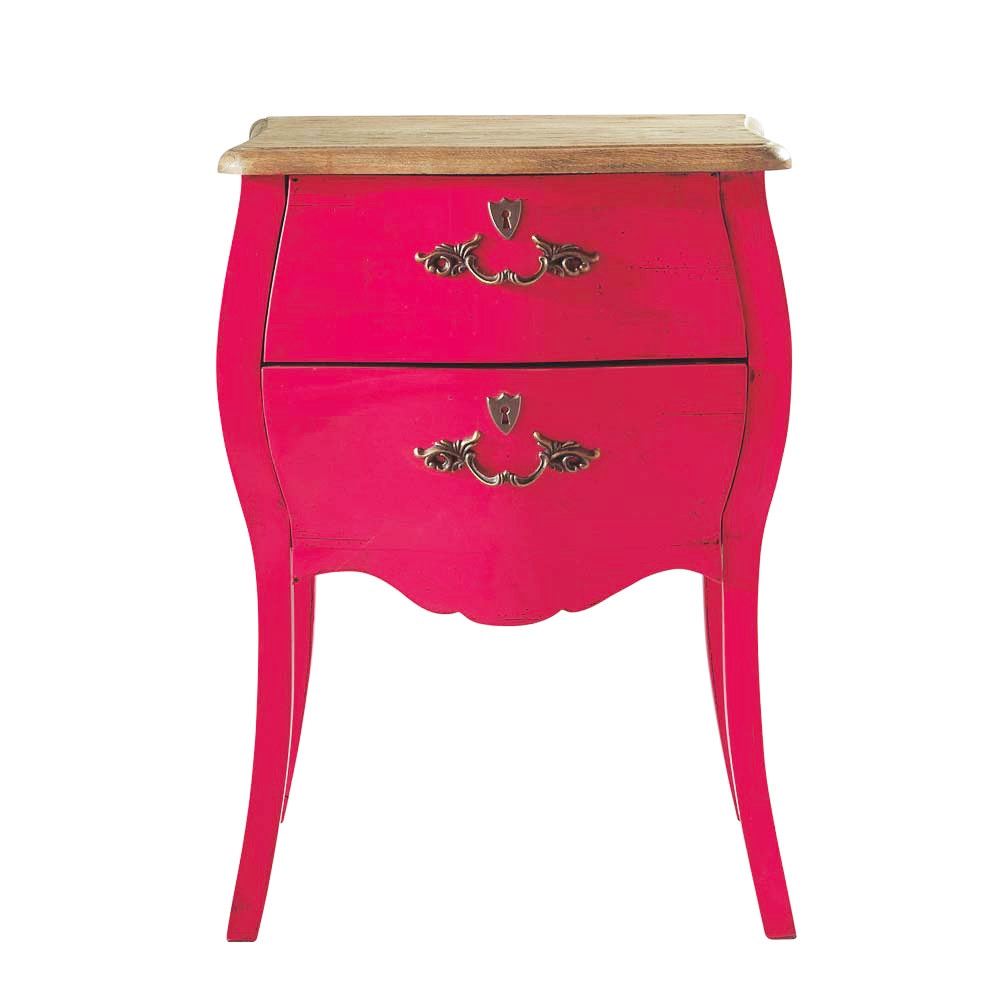 Table de chevet avec tiroirs en ch ne rose l 45 cm haute - Table de chevet en chene ...