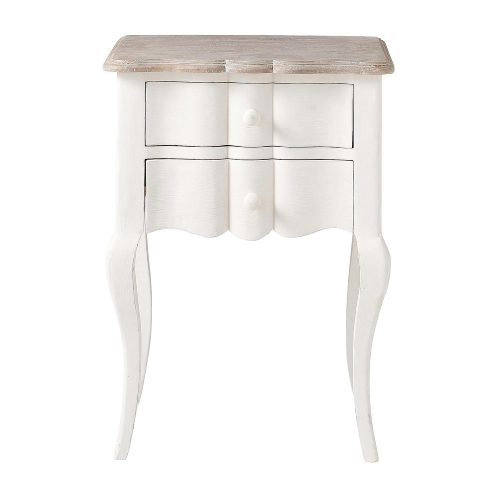 table de chevet avec tiroirs en manguier blanche l 48 cm. Black Bedroom Furniture Sets. Home Design Ideas