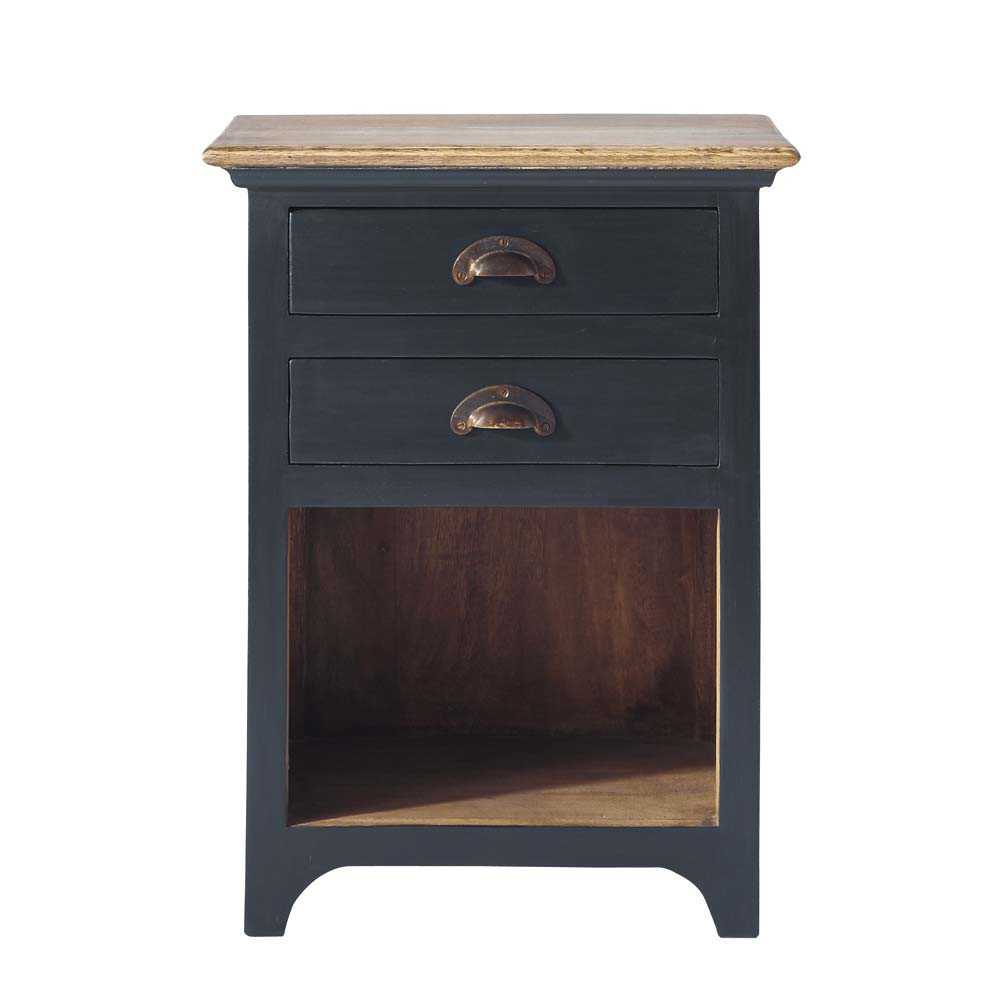 Table de chevet avec tiroirs en manguier gris l 45 cm - Table de chevet avec tiroir ...