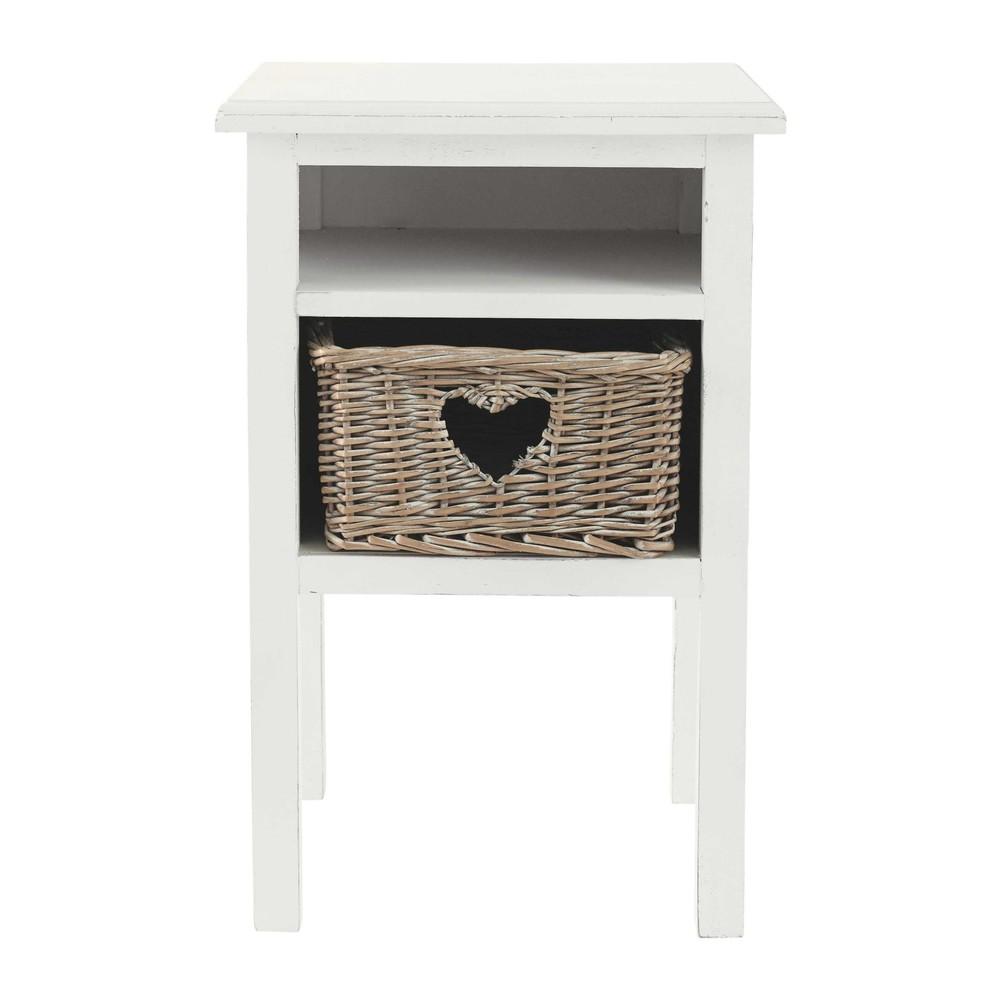 Table de chevet c ur en bois blanche l 35 cm gabrielle for Maison du monde table chevet