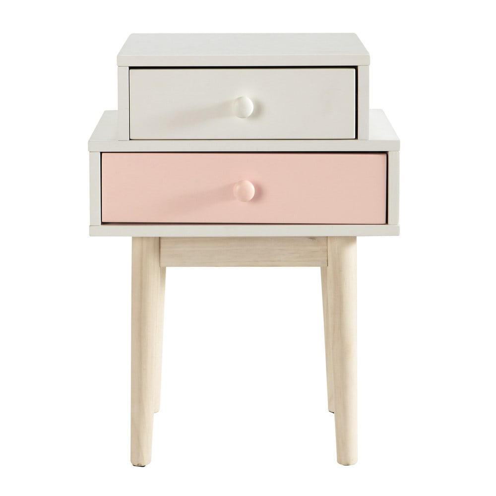 Table de chevet en bois blanche l 42 cm blush maisons du for Maison du monde table