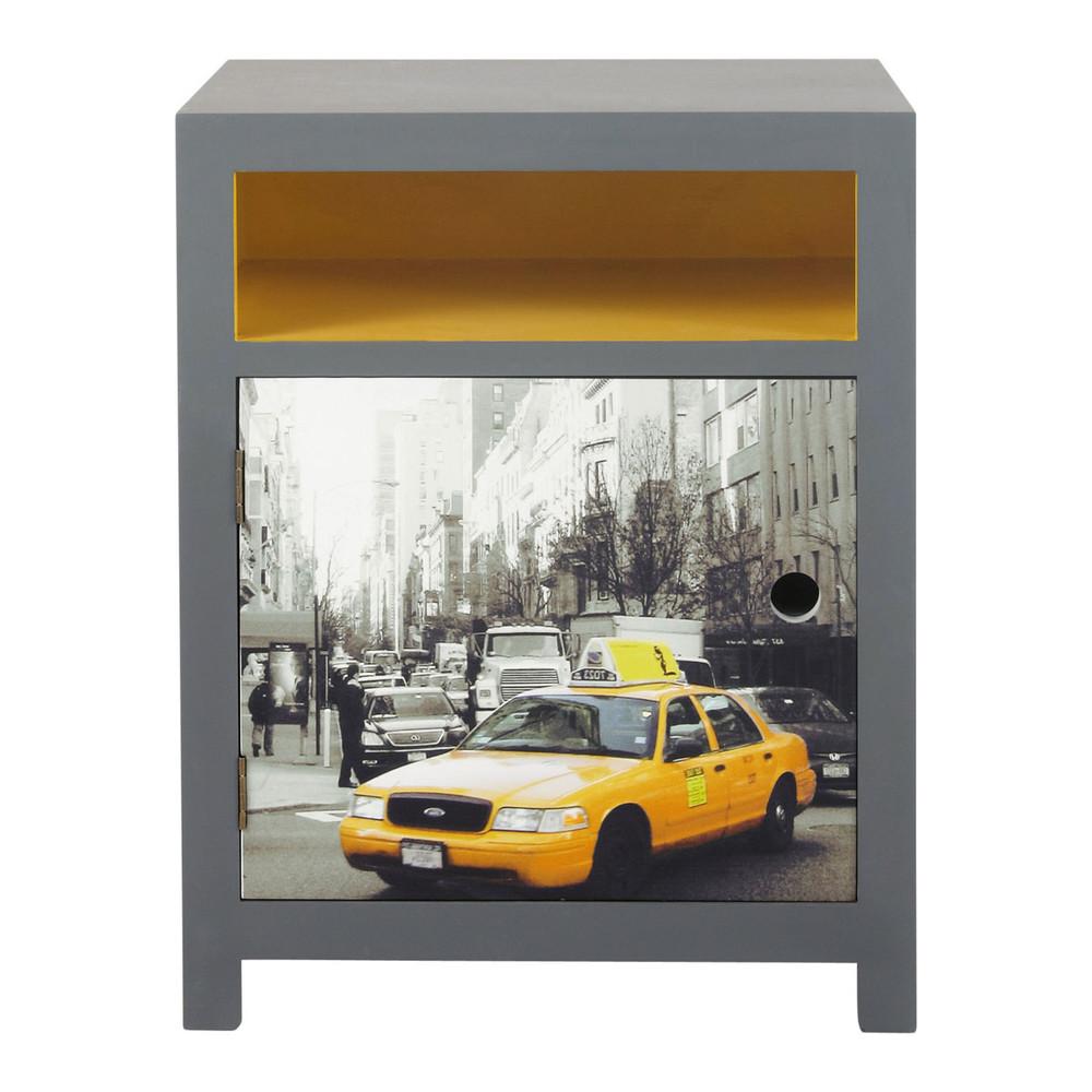 Table de chevet en bois gris et jaune l 44 cm cab for Table de nuit new york