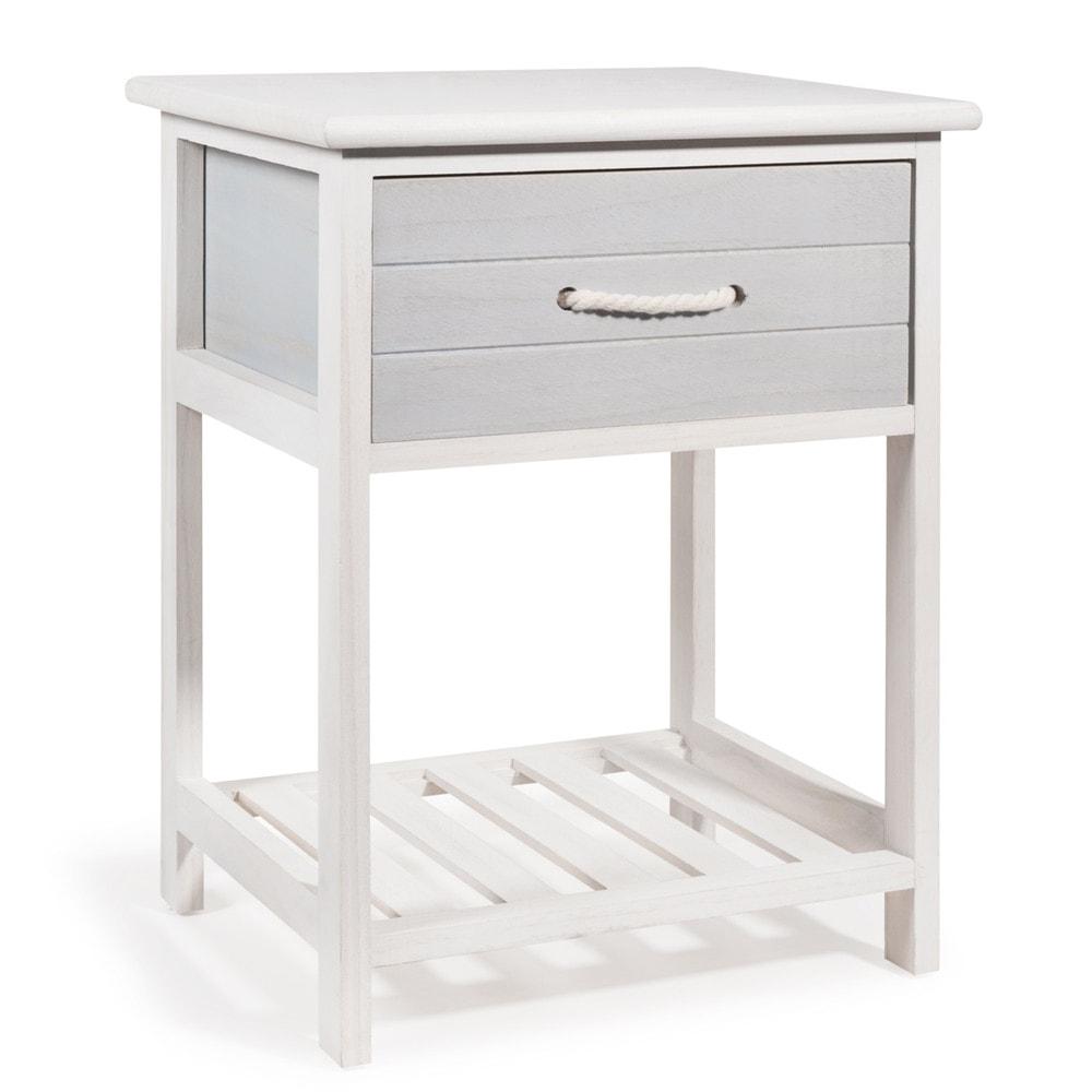 table de chevet en paulownia blanc oleron maisons du monde. Black Bedroom Furniture Sets. Home Design Ideas