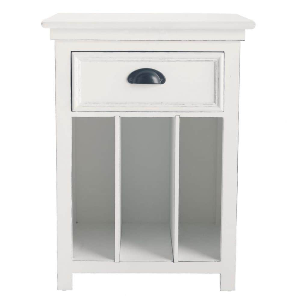table de chevet en pin blanc avec tiroir l 45 cm newport maisons du monde. Black Bedroom Furniture Sets. Home Design Ideas