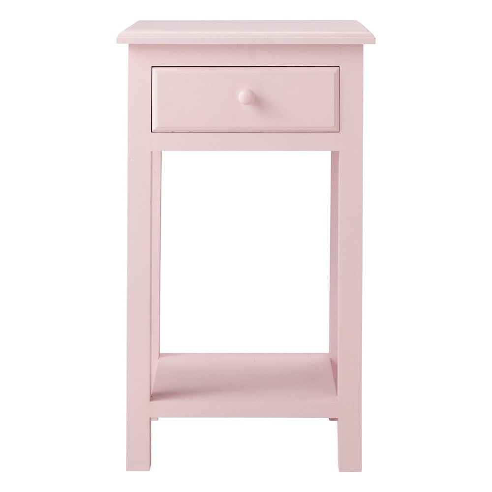 Table de chevet enfant avec tiroir en bois rose l 35 cm for Table de chevet rose