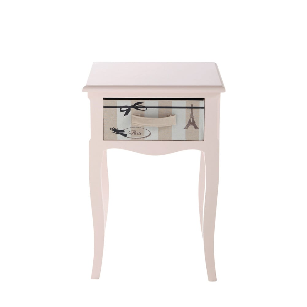 table de chevet enfant avec tiroir en bois rose l 42 cm paris mode maisons du monde. Black Bedroom Furniture Sets. Home Design Ideas