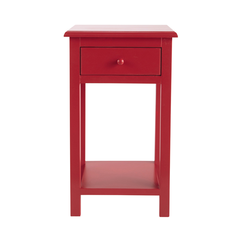 Table de chevet enfant avec tiroir en bois rouge l 35 cm for Table de chevet bebe