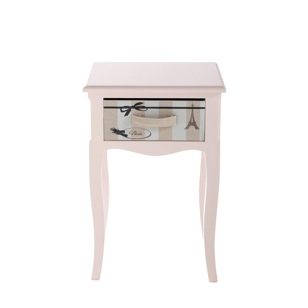 Table De Nuit Rose #15: Table De Chevet Enfant Avec Tiroir Rose L 42 Cm