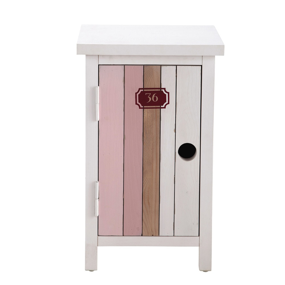 Table de chevet enfant en bois rose et blanc l 34 cm for Table de chevet bebe