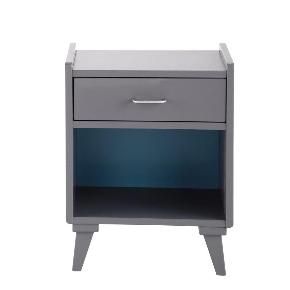 Table de chevet grise et bleue l 42 cm theo maisons du monde for Table de chevet grise ikea
