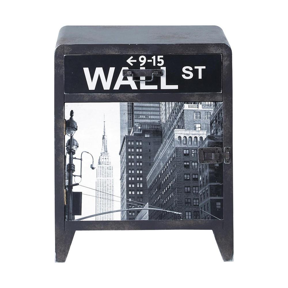 table de chevet indus avec tiroir en bois grise l 42 cm wall street maisons du monde. Black Bedroom Furniture Sets. Home Design Ideas