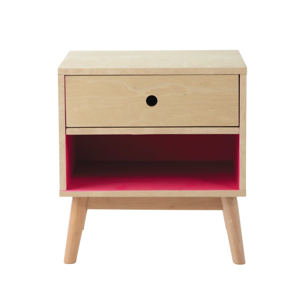 table de chevet vintage avec tiroir en bois l 43 cm dekale. Black Bedroom Furniture Sets. Home Design Ideas