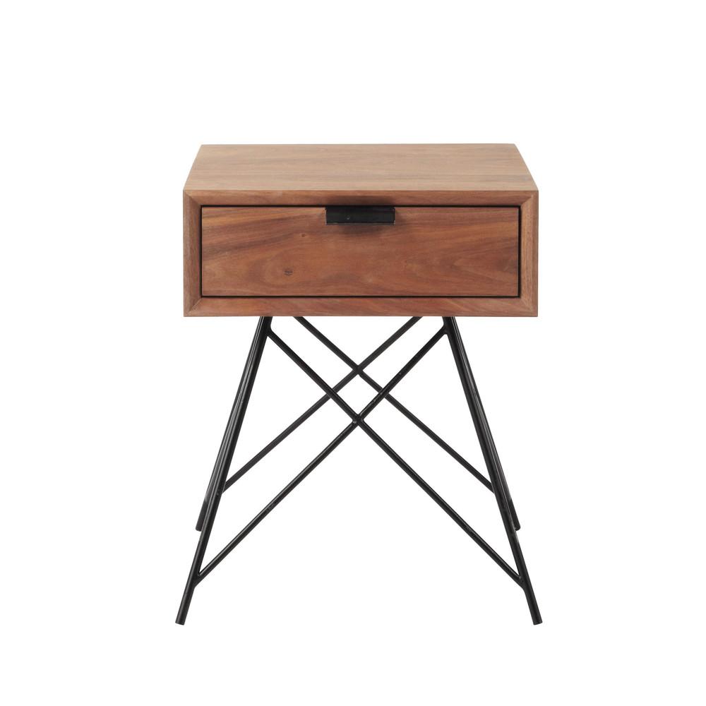 Table de chevet vintage avec tiroir en noyer massif l 37 - Table de chevet avec tiroir ...