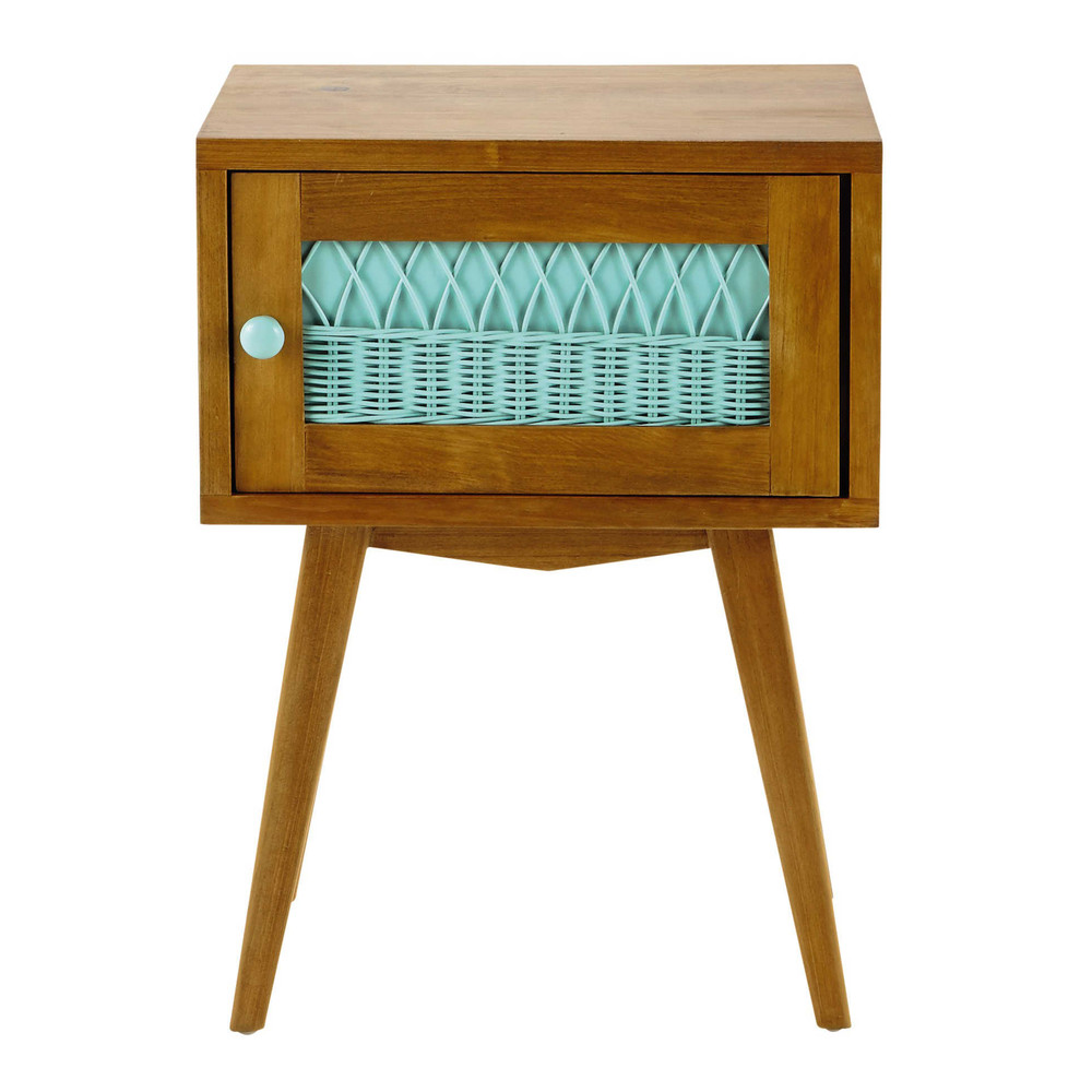 Table de chevet vintage en bois et rotin vert d 39 eau l 43 for Table de chevet en rotin