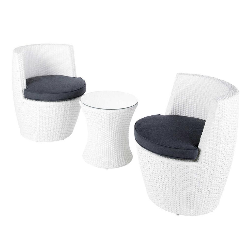 Table de jardin 2 fauteuils en r sine tress e blancs d for Petite table de jardin en resine tressee