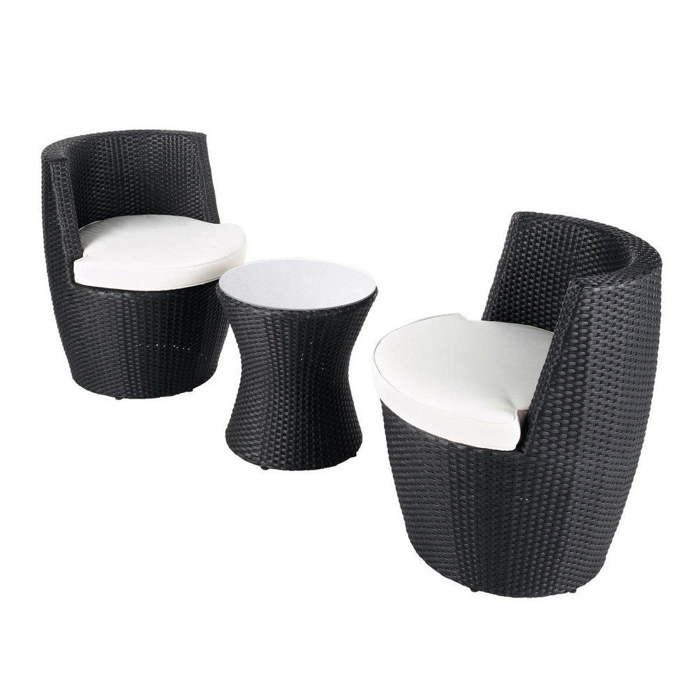 table de jardin 2 fauteuils en r sine tress e noirs d 64. Black Bedroom Furniture Sets. Home Design Ideas