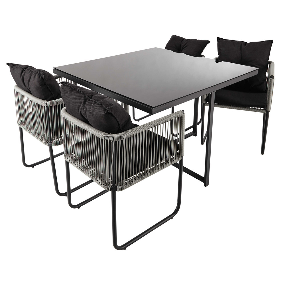 table de jardin 4 chaises de jardin en r sine et tissu noir l 107 cm swann maisons du monde. Black Bedroom Furniture Sets. Home Design Ideas