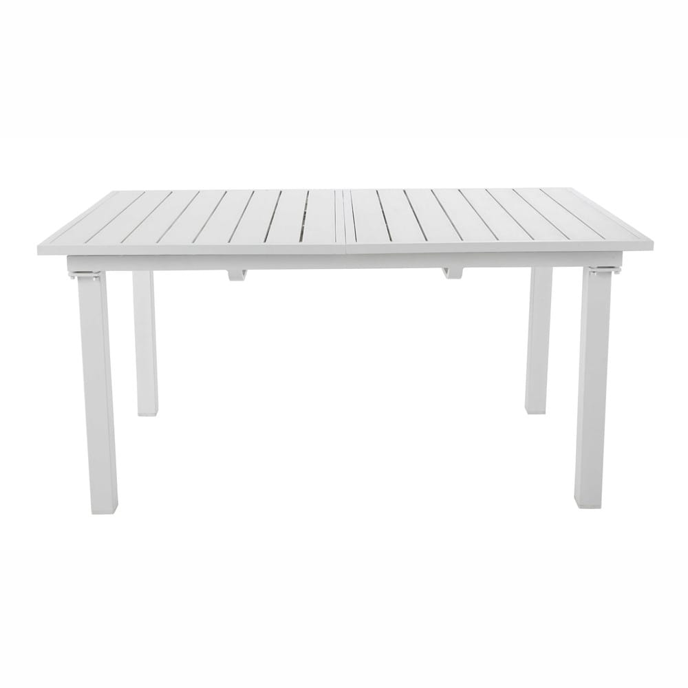 Table de jardin rallonge en alluminium blanche l 154 l - Table blanche a rallonge ...