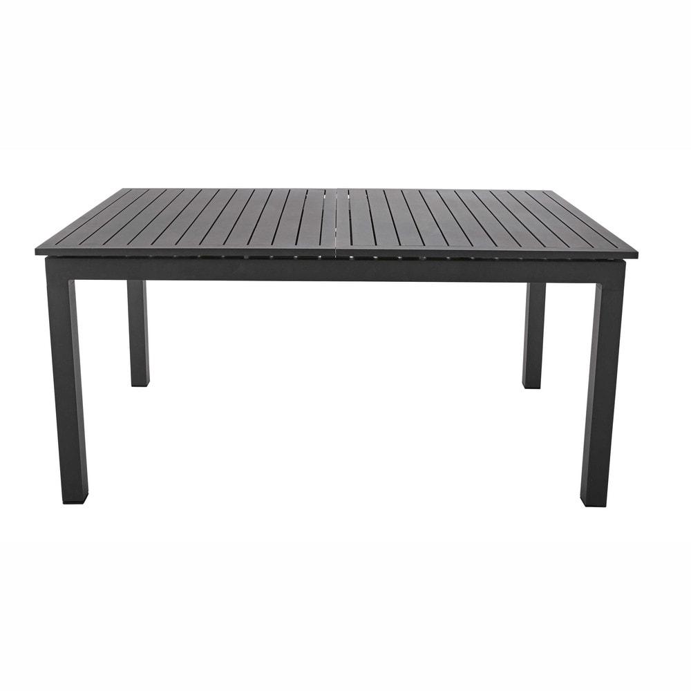 table de jardin rallonge en aluminium anthracite l 160 l 210 cm extenso maisons du monde. Black Bedroom Furniture Sets. Home Design Ideas