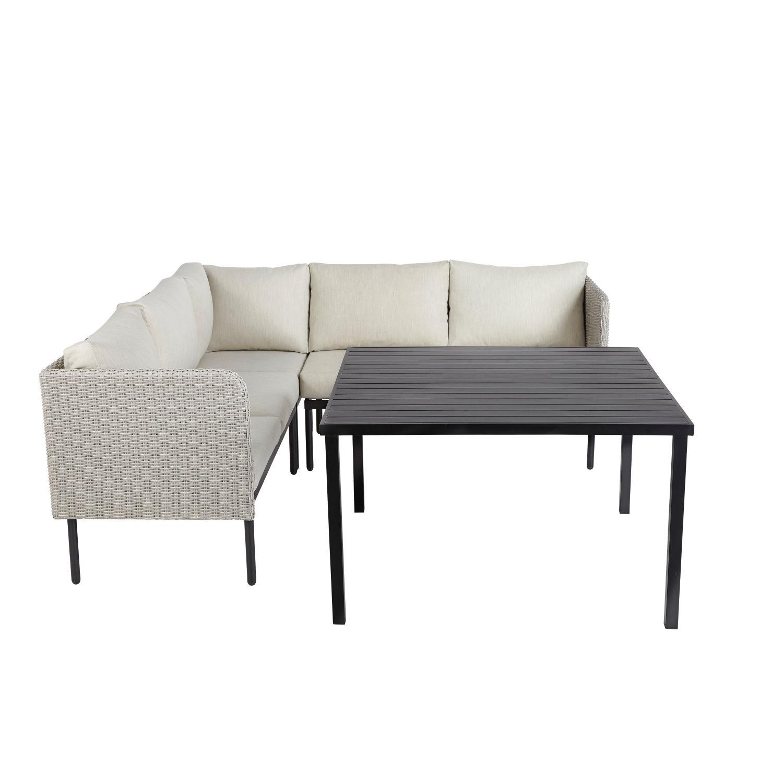 Table de jardin avec canapé d\'angle en aluminium et résine tressée ...
