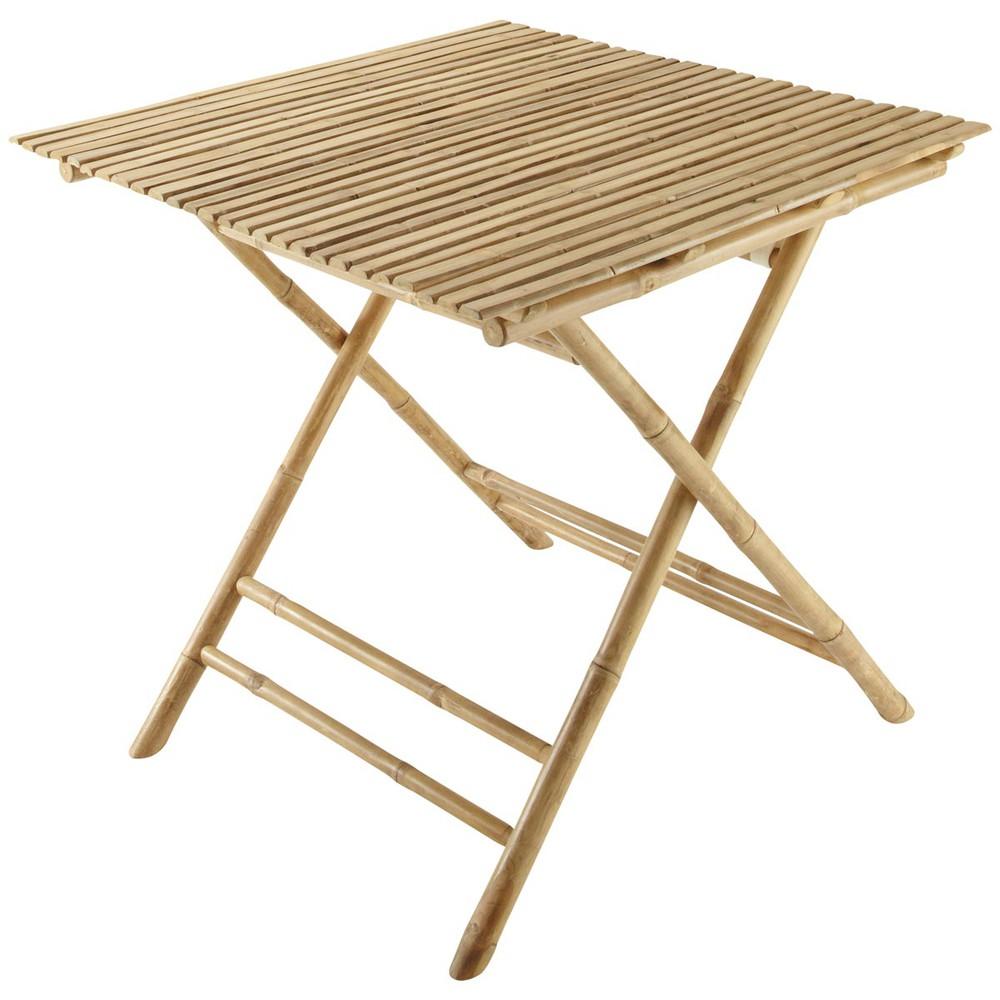table de jardin carr e pliante bambou robinson maisons du monde. Black Bedroom Furniture Sets. Home Design Ideas