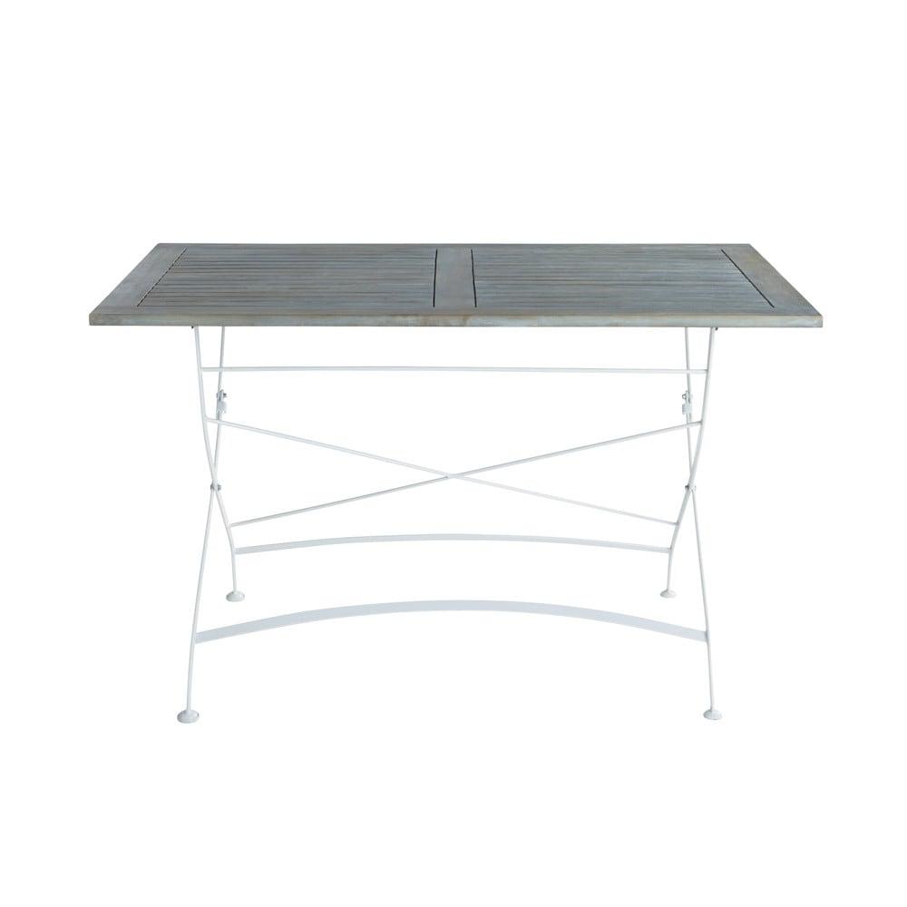 Table de jardin en acacia et m tal l 125 cm garden party maisons du monde for Petite table de jardin maison du monde