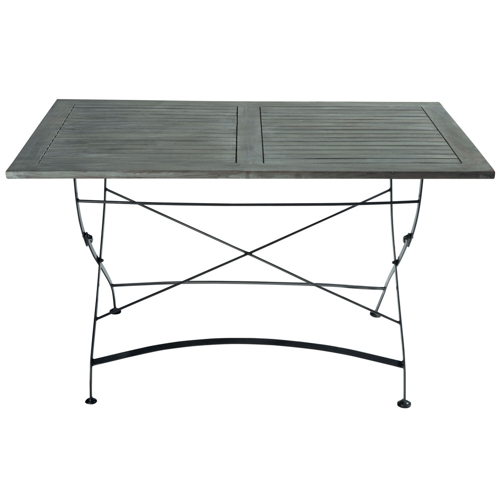 Table de jardin en acacia et m tal l 125 cm garden party - Table de jardin metal ...