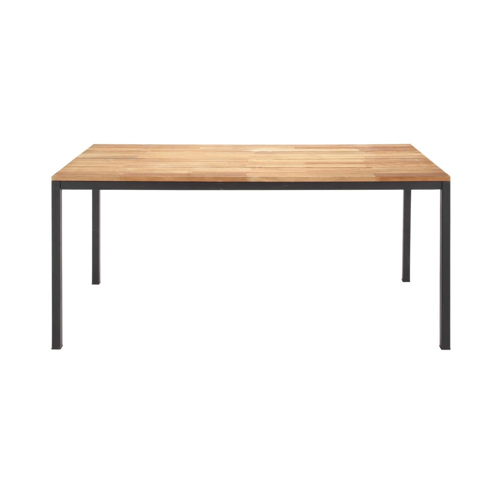 table de jardin en acacia et m tal l 180 cm square maisons du monde. Black Bedroom Furniture Sets. Home Design Ideas