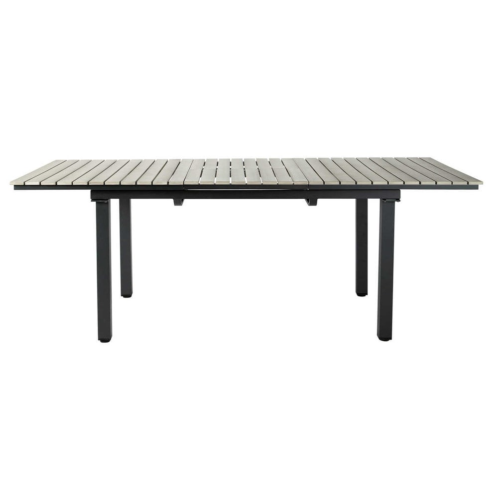 table de jardin en composite imitation bois et aluminium grise l 213 cm escale maisons du monde. Black Bedroom Furniture Sets. Home Design Ideas