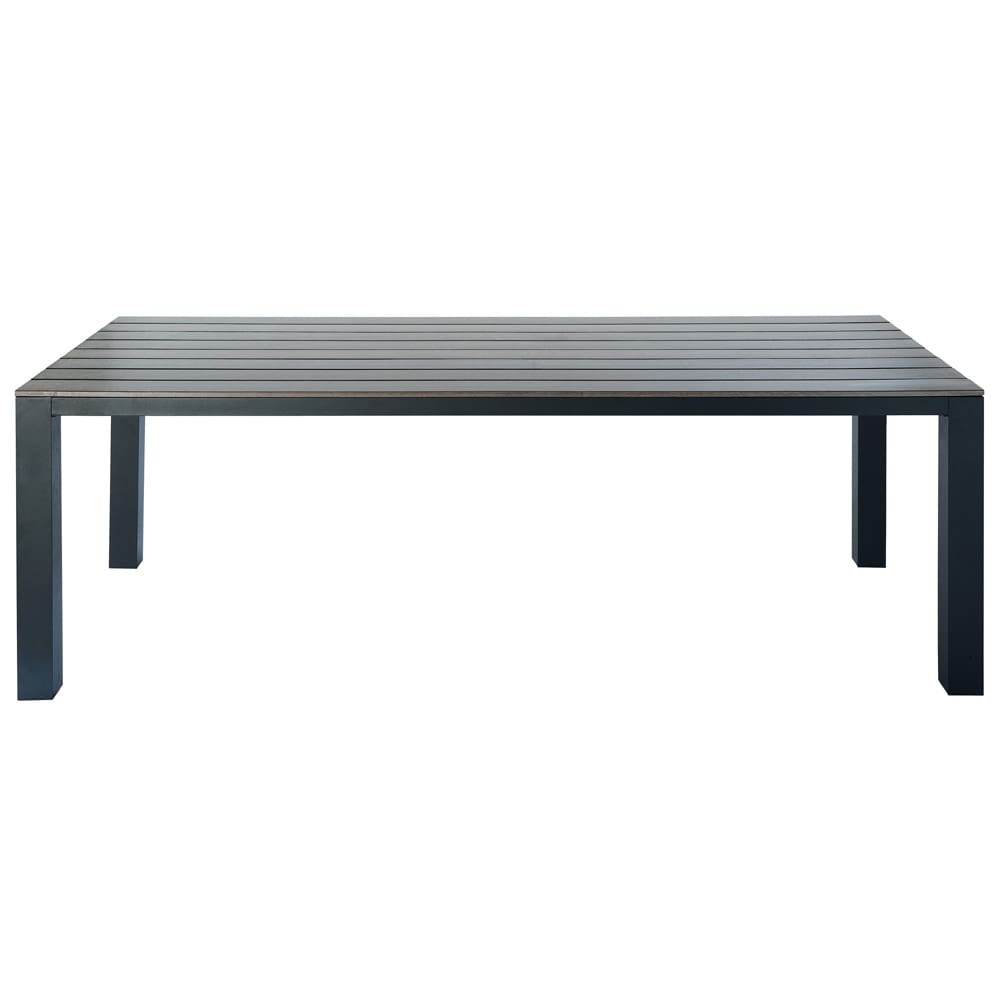 table de jardin en composite imitation bois et aluminium. Black Bedroom Furniture Sets. Home Design Ideas