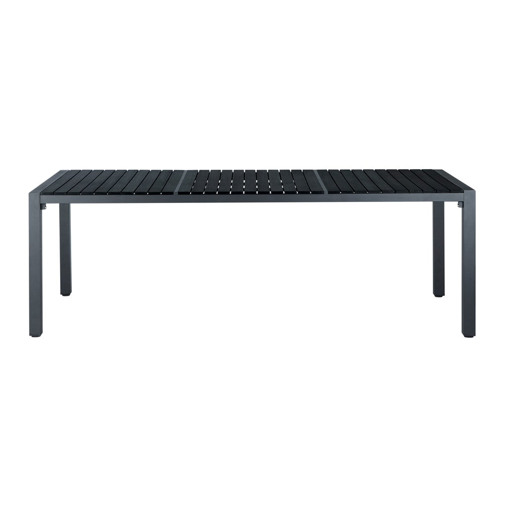 table de jardin en composite imitation bois et aluminium noire l 180 cm stromboli maisons du monde. Black Bedroom Furniture Sets. Home Design Ideas