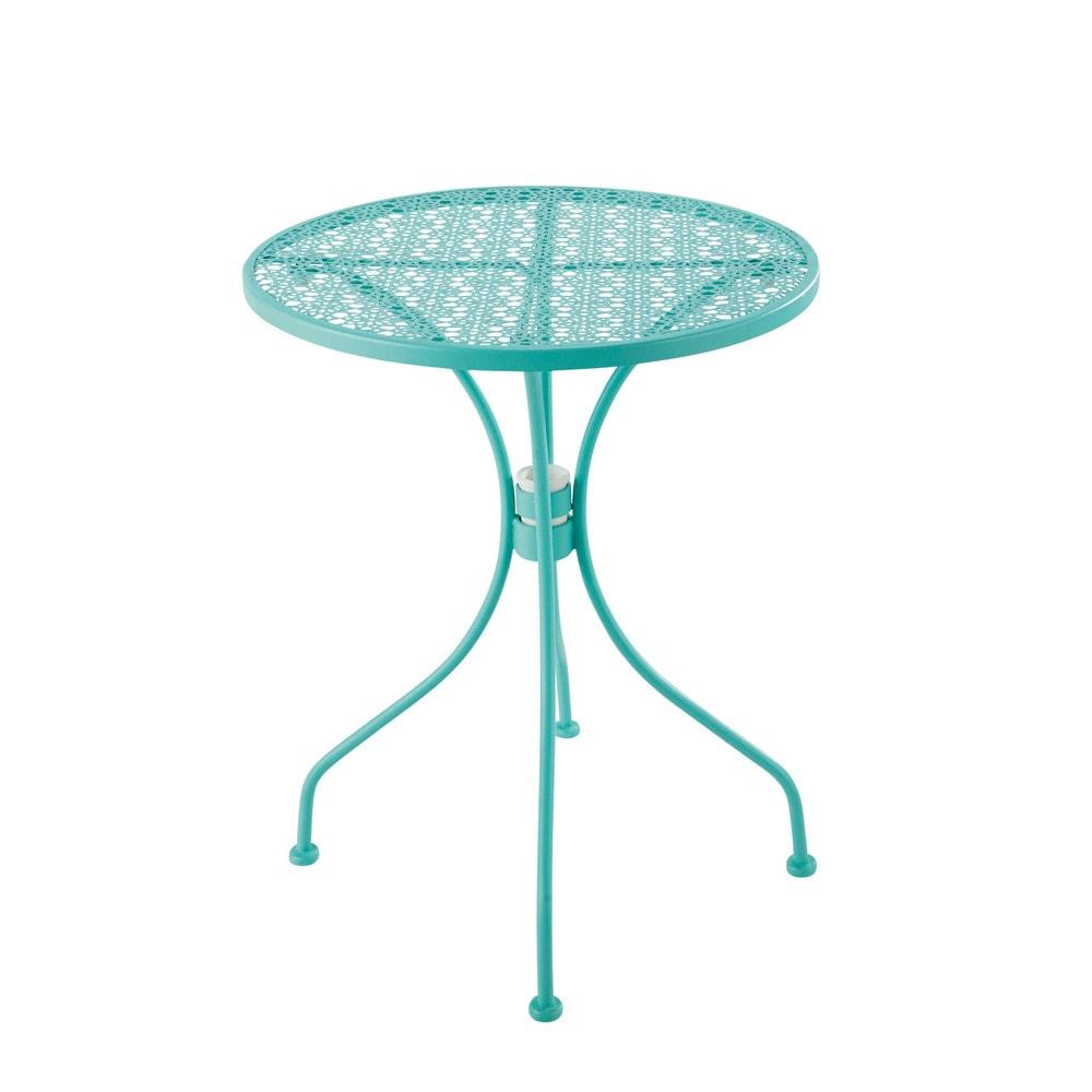 Table de jardin en m tal ajour bleu turquoise d 60 cm for Table de jardin maison du monde